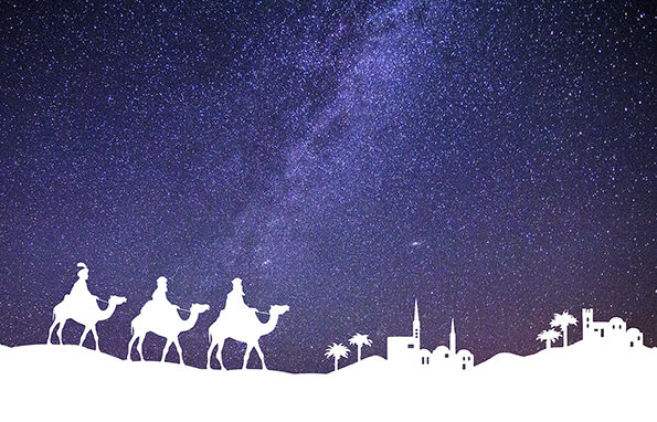 Representation of Christmas Nativity. Holy. Wise Men on camels figurines coming in the desert toward Bethlehem village, in white silhouette style. In the background, a beautiful blue starly sky. XXXL concept image image.